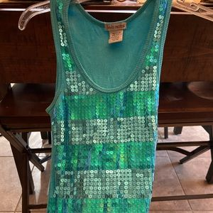 Mermaid colored teal sequins shirt